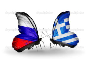 Two butterflies with flags on wings as symbol of relations Russia and Greece
